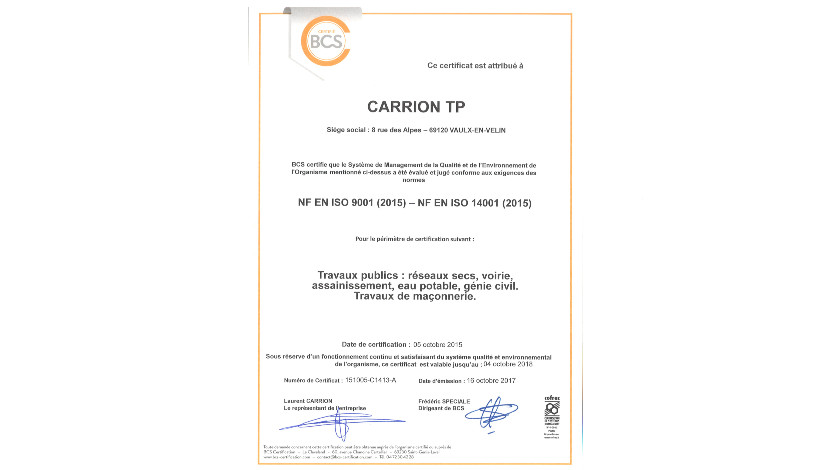 iso 9001 14001 version 2015 qualité environnement certification carrion tp